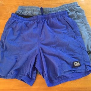 SPEEDO Men's Blue swim trunks! 2 pairs! Size Med.